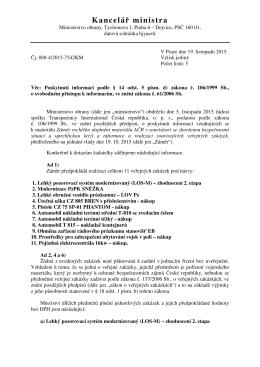 Odpověď na žádost o informace od Ministerstva obrany