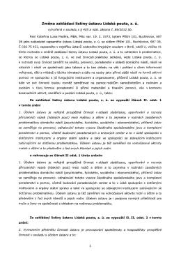 Změna zakládací listiny ústavu tidská pouta, z. ú.