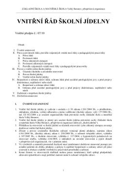 VNITŘNÍ ŘÁD ŠKOLNÍ JÍDELNY - Základní škola Velký Beranov