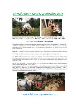 letní pobyt nejen o koních 2015 - Bližanovy