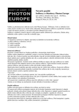 Návod k použití Softboxy a Oktaboxy Photon Europe