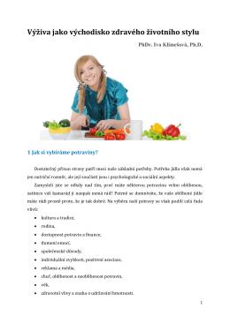 Výživa jako východisko zdravého životního stylu