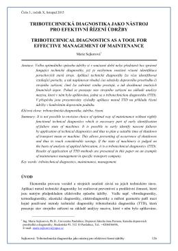 tribotechnická diagnostika jako nástroj pro efektivní řízení údržby