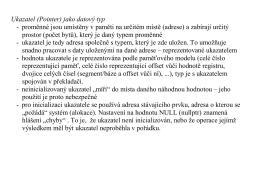 Ukazatel (Pointer) jako datový typ