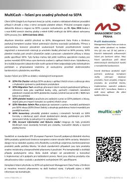 MultiCash – řešení pro snadný přechod na SEPA