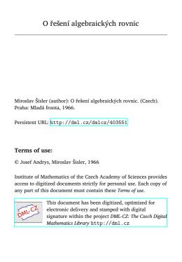 O řešení algebraických rovnic - DML-CZ