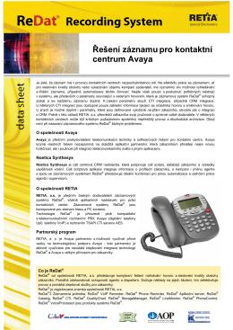 Řešení záznamu pro kontaktní centrum Avaya