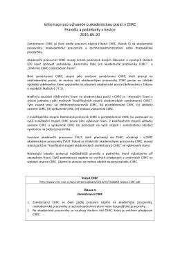 Informace pro uchazeče o akademickou pozici v CIIRC Pravidla a