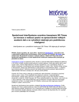 Společnost InterSystems oceněna časopisem SD Times za inovace