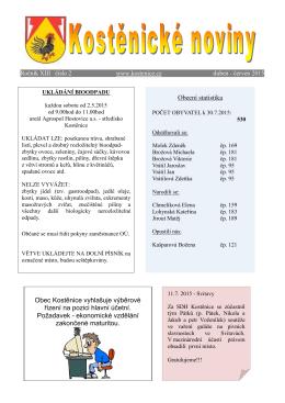 Obecní statistika Obec Kostěnice vyhlašuje výběrové řízení na pozici