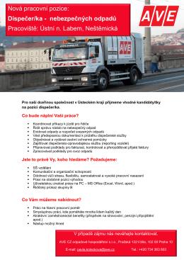 Nová pracovní pozice: Dispečer/ka - nebezpečných odpadů