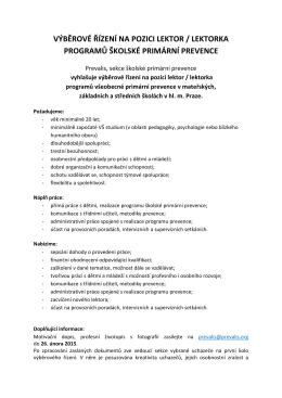 výběrové řízení na pozici lektor / lektorka programů