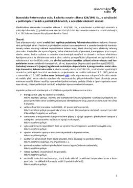 Stanovisko Rekonstrukce státu k návrhu novely zákona 424/1991