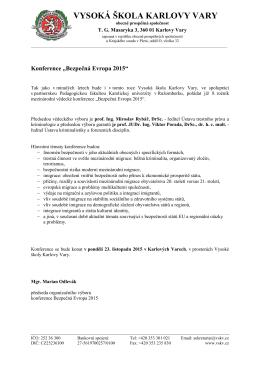 Hlavičkový papír - Vysoká škola Karlovy Vary