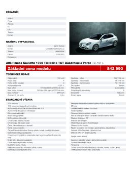 Základní cena modelu 842 990 - Alfa Romeo