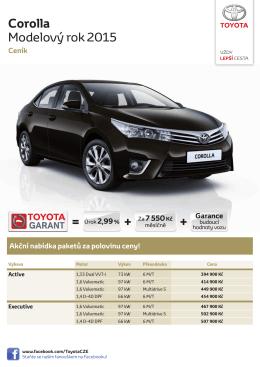 Corolla Modelový rok 2015