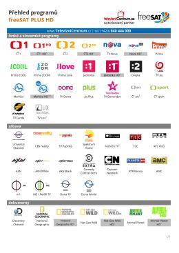 Přehled programů freeSAT PLUS HD
