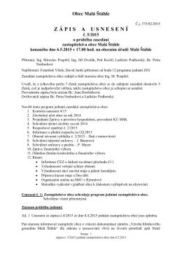 Zápis a usnesení ZO 6.5.2015