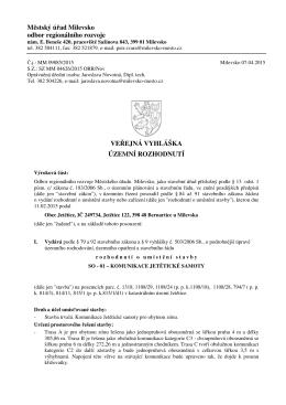 M stský ú ad Milevsko odbor regionálního rozvoje VE EJNÁ