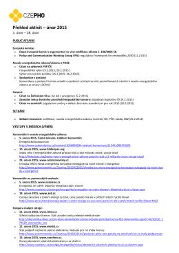 Přehled aktivit – únor 2015 - Česká fotovoltaická průmyslová asociace