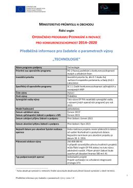 2014–2020 Předběžná informace pro žadatele o parametrech výzvy