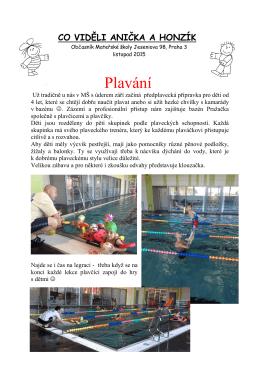 Plavání - Mateřská škola Jeseniova 98/2593, Praha 3
