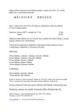 Odbor Klubu českých turistů Mělník pořádá v sobotu 20