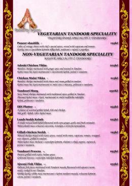 vegetarian tandoor speciality non