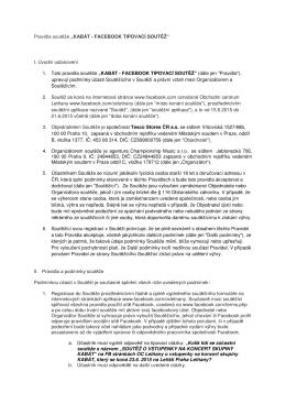 """Pravidla soutěže """"KABÁT - FACEBOOK TIPOVACÍ SOUTĚŽ"""" I"""
