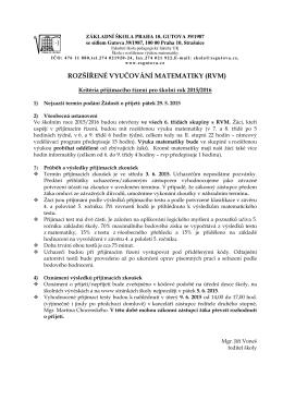 ROZŠÍŘENÉ VYUČOVÁNÍ MATEMATIKY (RVM)
