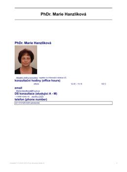 PhDr. Marie Hanzlíková