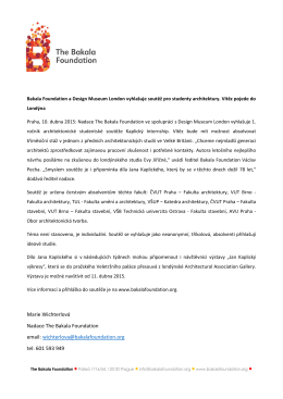 Marie Wichterlová Nadace The Bakala Foundation email