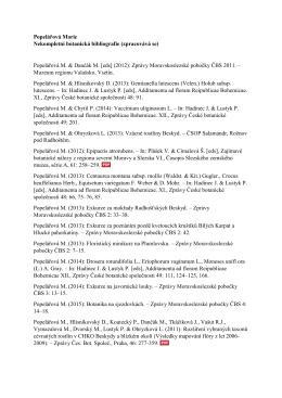 Popelářová Marie Nekompletní botanická bibliografie (zpracovává