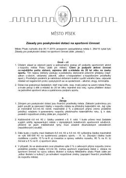 Z/12 Zásady pro poskytování dotací na sportovní činnost