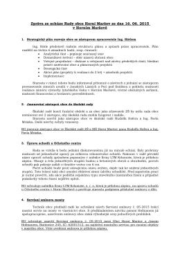 Zpráva z rady obce č. 9/2015
