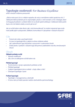 Typologie osobnosti For Business Excellence