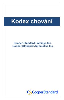 Kodex chování - Cooper Standard