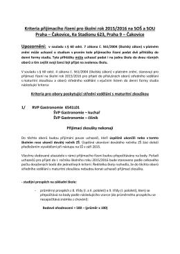 Kriteria pro přijímací řízení pro školní rok 2006/2007