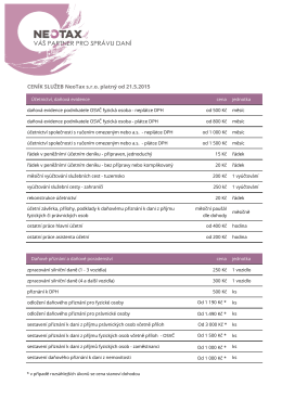 CENÍK SLUŽEB NeoTax s.r.o. platný od 21.5.2015
