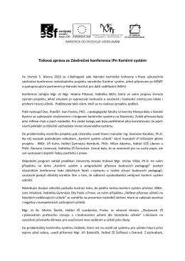Tisková zpráva ze Závěrečné konference IPn Kariérní systém