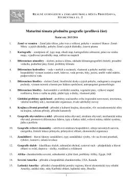 Geografie - Reálné gymnázium a základní škola města Prostějova