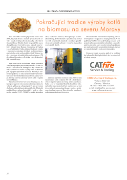 Pokračující tradice výroby kotlů na biomasu na severu Moravy