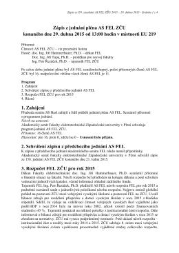 Zápis ze 159. zasedání AS FEL konaného 29. dubna 2015