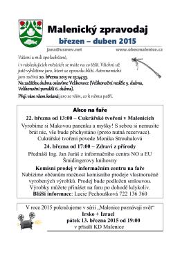 02.03.2015 Malenický zpravodaj březen