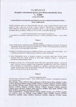 Nařízení krajské veterinární správy pro Moravskoslezský kraj