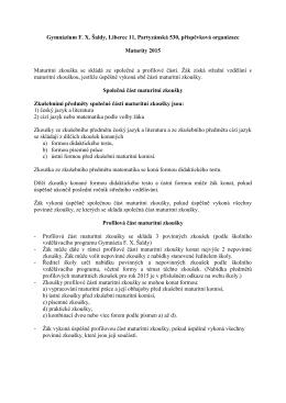 Gymnázium F. X. Šaldy, Liberec 11, Partyzánská 530, příspěvková