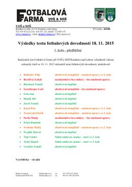 Výsledky testu fotbalových dovedností 18. 11. 2015