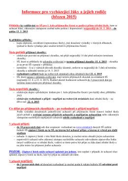 Informace pro vycházející žáky a jejich rodiče (březen 2015)