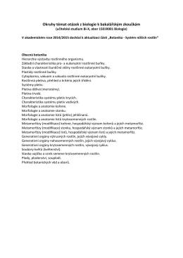 Soubory otázek z biologie k bakalářským zkouškám