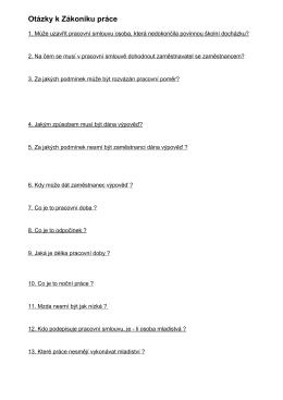Otázky k Zákoníku práce